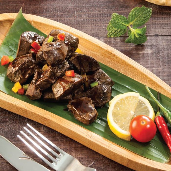Liver with banana leaves